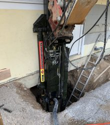 Nachgründung Vereinshaus USV Plainfeld - erreichte Gründungstiefe bis 14 Meter